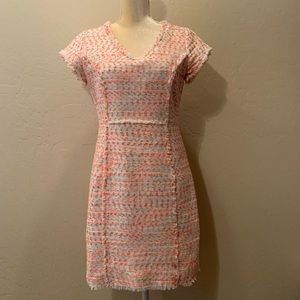 Nanette Lepore Pink & White Tweed Sheath Dress